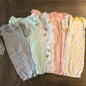 5 Newborn Onesies Gowns- Washed and never worn